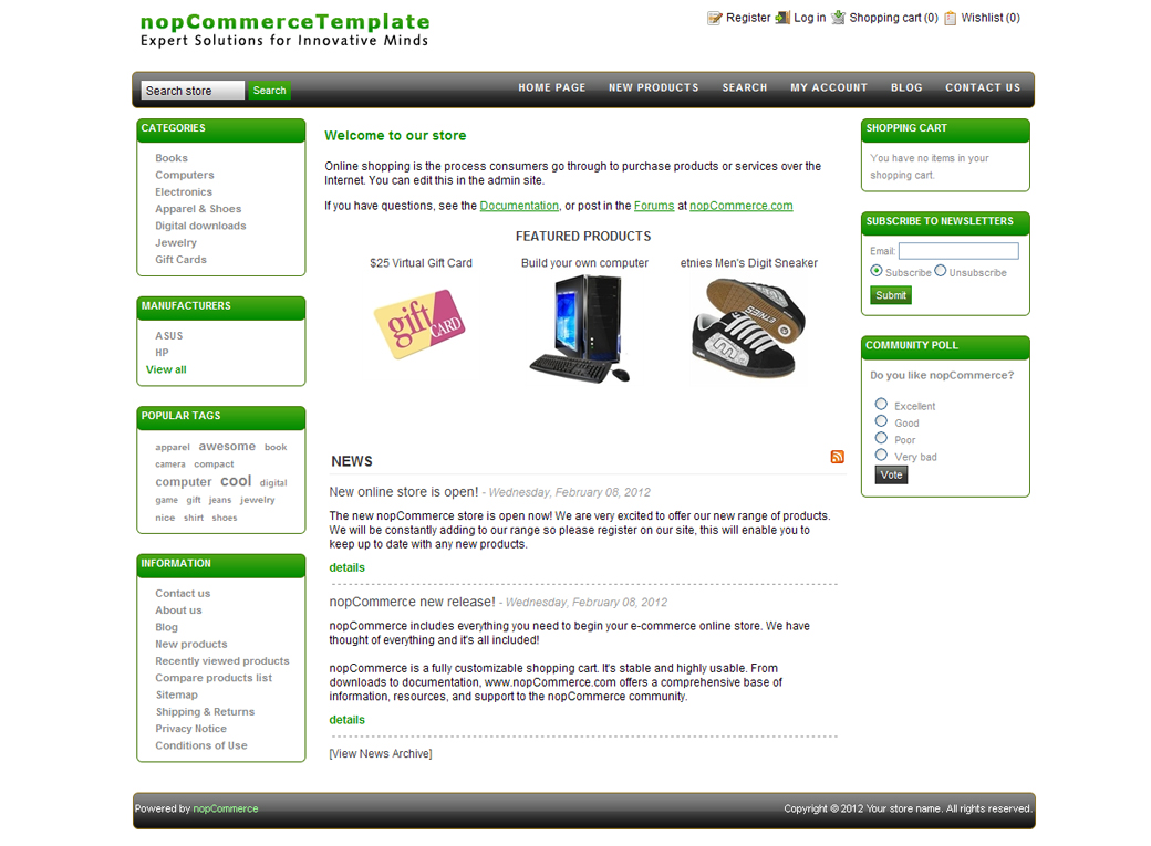 nop commerce templates - free nopcommerce 2 7 templates