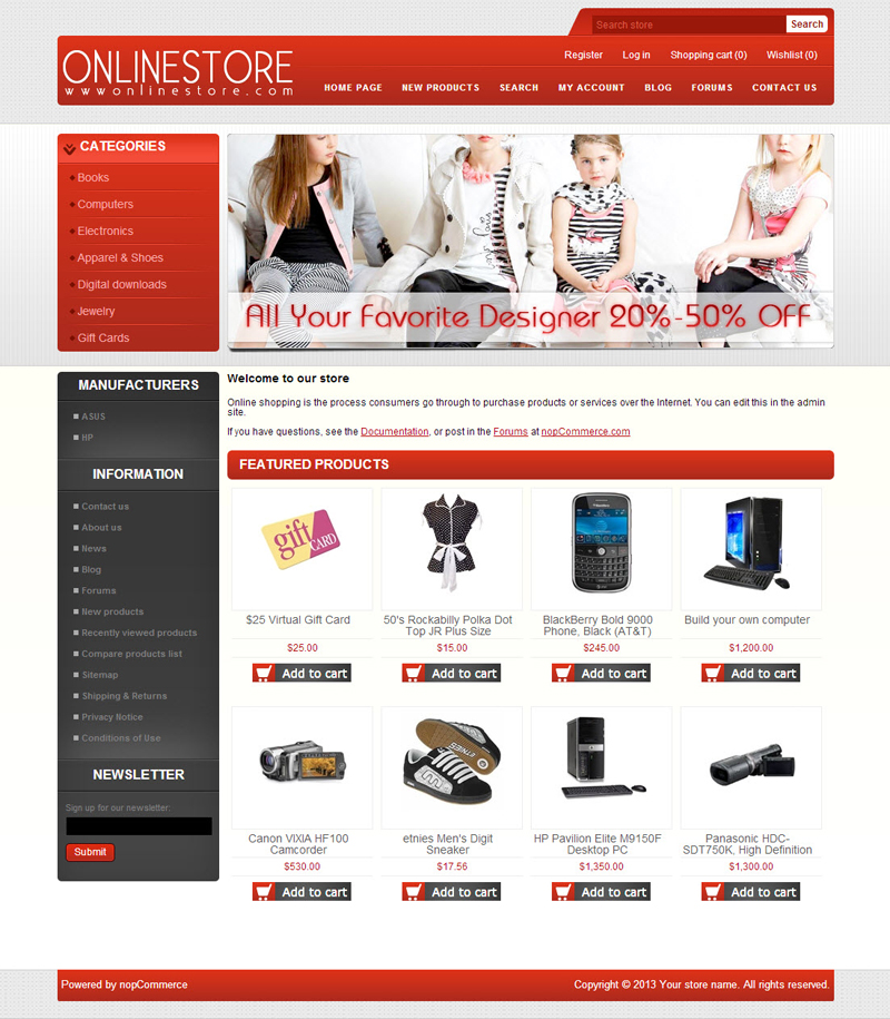 nop commerce templates - free templates for nopcommerce